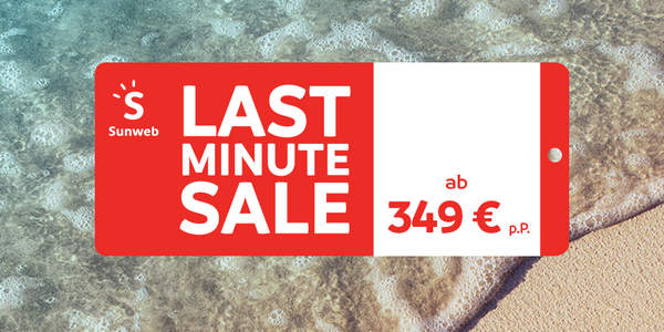 Last Minute Label am Strand
